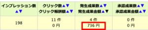 1日で収益736円発生!